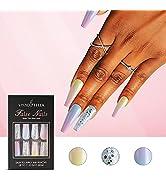 30 Pcs Coffin Press on Nails Long Glitter Rainbow Fake Nails Glossy False Nails with Nail Tab Acr...