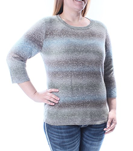 NY Collection Gray Striped Jewel Neck Short Sleeve Sweater Petites S B+B