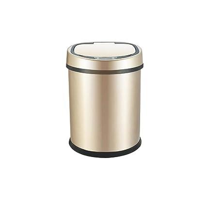 LVAB Papelera- Bote de Basura de 8 litros de Acero Inoxidable 2 en 1 Sensor