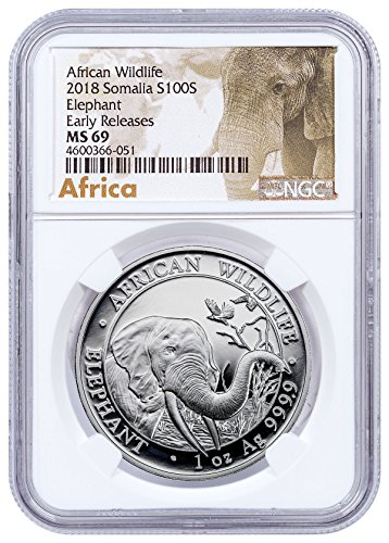 2018 SO Silver Elephant Sh Coin ER Exclusive African Elep 100 Shilling MS69 NGC - Exclusive Elephant