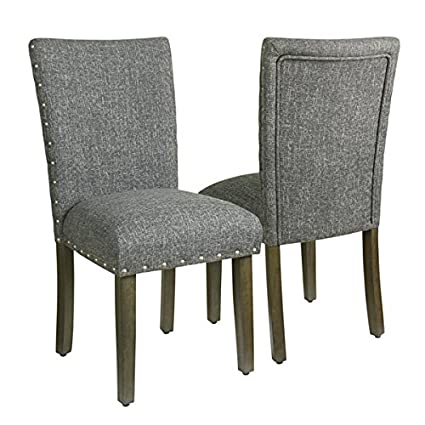Beau HomePop Classic Parsons Chair With Nailhead Trim   Slate Grey (set Of 2)