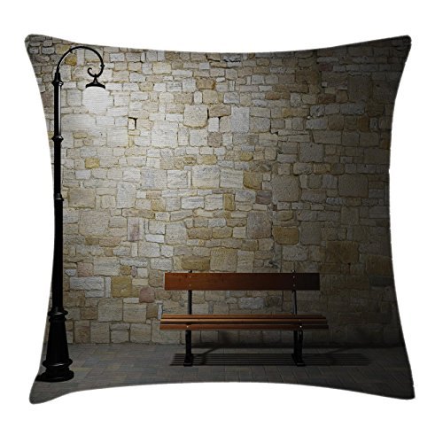Street Decor Throw Pillow Cushion Cover by Ambesonne, Modern Avenue at Dark Night with a Open Lamp and Bench and Stone Wall Behind Image, Decorative Square Accent Pillow Case, 20 X 20 Inches, (Avenue Baby Lamp)