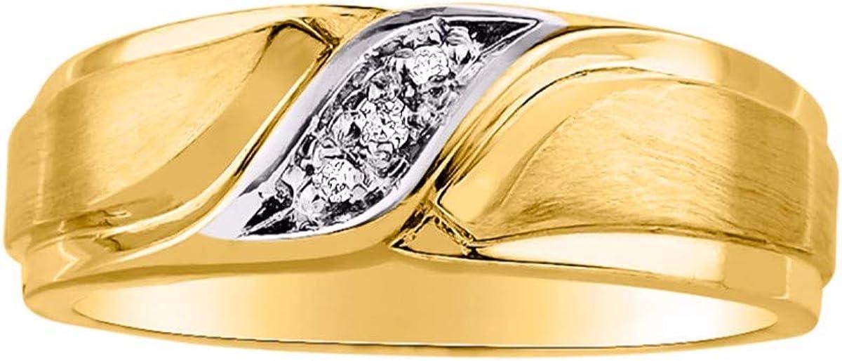 RYLOS - Anillo de boda con diamantes auténticos engarzados en plata de ley o plata de ley chapada en oro amarillo de 14 quilates