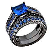 Best  - Rongxing® Jewelry Womens Elegant Four Claws Blue Square Review