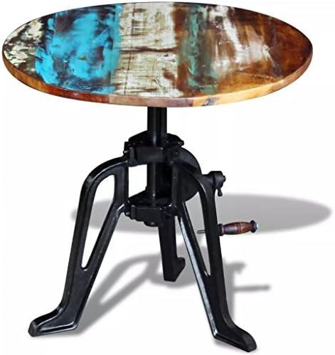 Verzending Over De Hele Wereld Tidyard bijzettafel, koffietafel, salontafel, woonkamertafel, gerecycled massief hout, gietijzer, 60 x (42-63) cm  AIY8INs