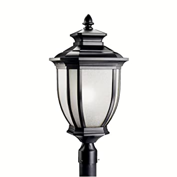 Great Amazon.com : Kichler Lighting 9938BK Salisbury 1 Light Outdoor Post Fixture,  Black With White Linen Glass : Patio, Lawn U0026 Garden
