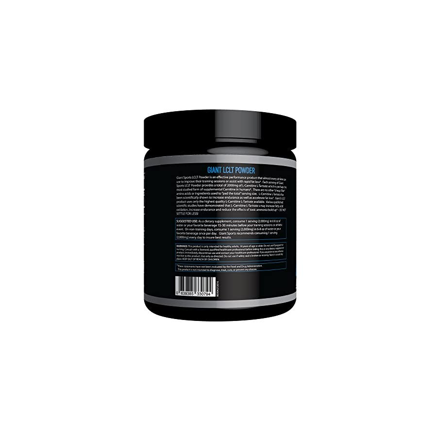 Giant Sports L Carnitine L Tartrate Powder, Metabolize Fat, Accelerate Fat Loss, 2000mg Per Serving, 60 Servings Unflavored