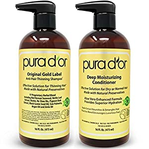 PURA D'OR Original Gold Label Shampoo & Conditioner for Anti-Thinning – Clinically Tested – Argan Oil, Biotin & Natural Ingredients, Sulfate Free, All Hair Types, Men & Women (Packaging may vary)