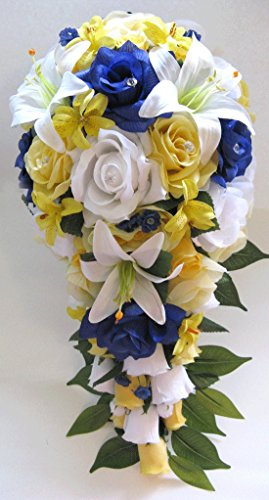 Wedding Bouquet flowers Bridal silk 17 piece Package Cascade YELLOW ROYAL Blue WHITE Lily Artificial bouquets Centerpiece (Royal Blue And Yellow Centerpieces)