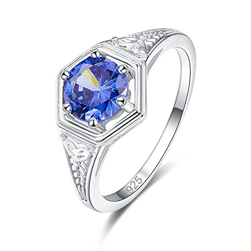Psiroy 925 Sterling Silver Created Blue Topaz Filled Round Cut Cocktail Solitaire Promise Ring for Women Size 6