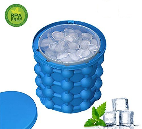 AIVANT Ice Cube Maker Genie,The Revolutionary Space Saving Ice Cube Maker Trays Molds Ice Bucket Tub Silicone Trays Mold Kitchen Tools for Chilling Burbon Whiskey,Cocktail,Beverages and More