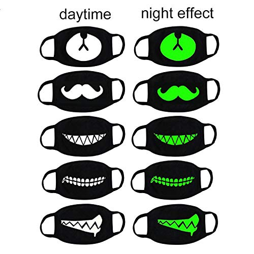 - Luomi Cool Luminous Mouth Mask 5 Pack Unisex Cotton Blend Anti Dust Kpop Fashion EXO Bear Teeth Moustache Black Face Mouth Mask for Kids Teens Men Women-Green Glow