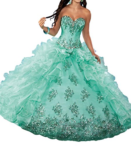 huamao Women's Sweetheart Sequins Ruffled Prom Red Carpet Sweet 15 Quinceanera Dresses 18 US Mint