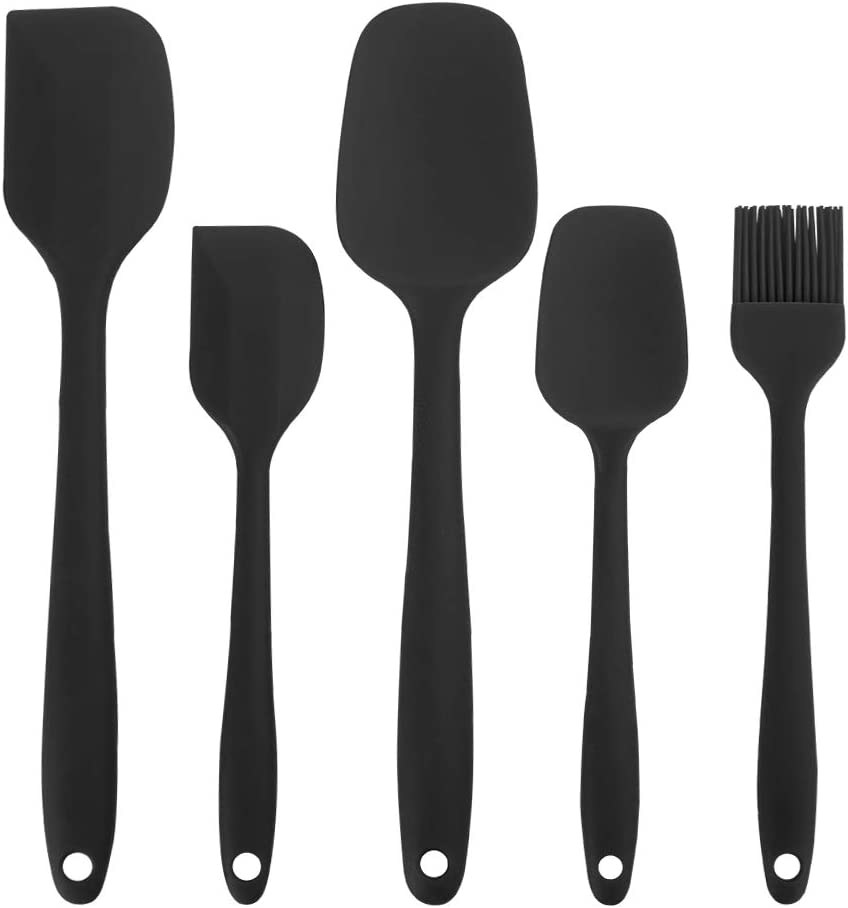 lovingmona Cooking Utensil Set Silicone Spatula Set Heat Resistant for Kitchen Cooking Cake Baking Mixing 5 Pieces Red