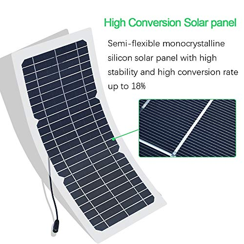 XINPUGUANG 10W 12V Flexible Solar Panel Monocrystalline Photovoltaic PV Module with DC Alligator Clip Cable for RV Boat Cabin Tent Car Trucks Trailers by XINPUGUANG (Image #1)