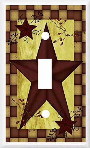BARN STAR PRIMITIVE COUNTRY INSPIRED LIGHT SWITCH COVER PLATE OR OUTLET (1x Toggle)