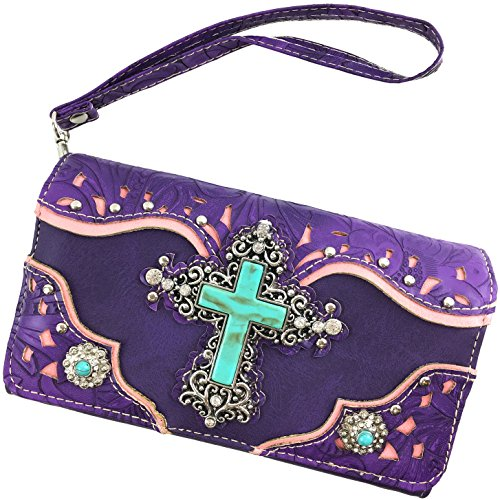 Concho with CrossBody Handbag Leather Messenger West Purple Laser Cut Only Turquoise Strap Cross Tooled Studded Wallet Rhinestone Justin g87wqCFn