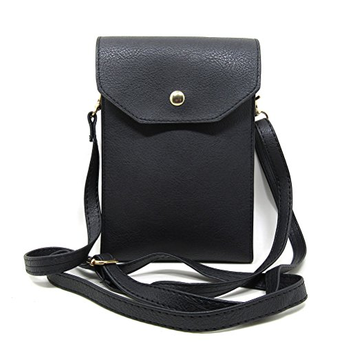 6.3 Inch PU Leather 3 Layers Vertical Cellphone Pouch Bag with Shoulder Strap and Magnetic Button for Apple iPhone Samsung Galaxy and Other Smartphone Black