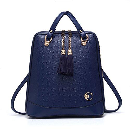 Para mujer Bolsos mochila Bolsos bandolera Carteras de mano Mochila escolar Bolsa para portátil Cuero Fekete Gema Azul
