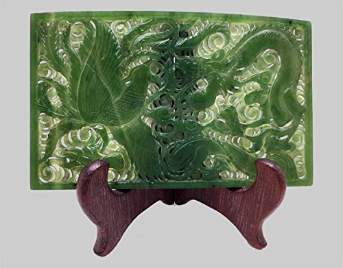Chinese Antique Hand-Carved Nephrite Jade Phoenix & Dragon Plaque With A Rare History