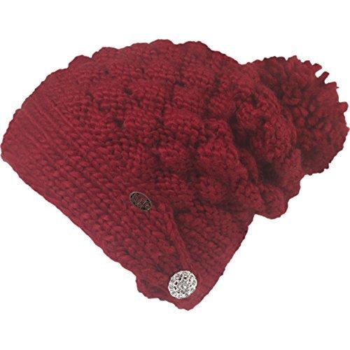 Turtle Fur Women's Cinta Grande Hand Knit Slouchy Pom Hat Garnet One Size [並行輸入品]   B077QH5K52