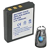 amsahr Digital Replacement Camera and Camcorder Battery for Sanyo DS-8330, DS8330, VPC-E1000, VPC-W800 - Includes Leatherette Camera/Lens Accessories Pouch