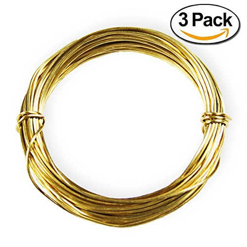Goglobe Snare Wire Component of Survival Kits Soft Brass 20 Gauge 11 Feet per Roll Pack of 3 Rolls - Brass Components