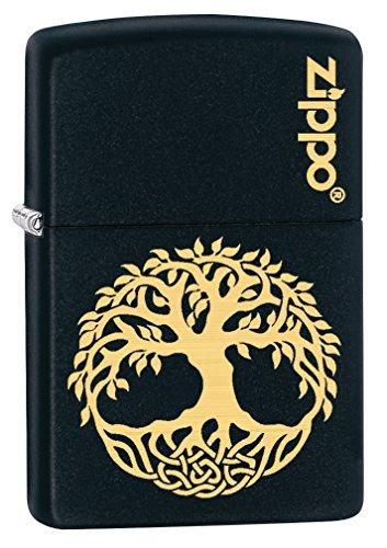Zippo Custom Lighter: Engraved Tree of Life - Black Matte 78813