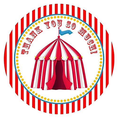 (Circus Carnival Party Thank You Sticker Labels - Big Top Birthday Party Favor Supplies - Set of 30)