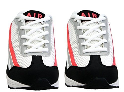 Womens Ladies Air Tech Girls Lace Up Shock Absorbing Running Fitness Sports Gym Trainers Shoes Sizes UK 4-8 White/Black/Coral x32TtINN2e
