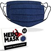 Hero Mask Pack of 2 Denim Reusable Face Mask UK from 3 Layers of Blended Cotton | Reusable Denim Face Mask | Made in…