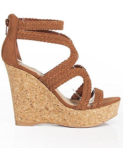 a1b4e4486286 Women s Vegan Braided Strappy Peep Toe Cork Wedge CAMEL (7.5) - Buy Online  in Oman.