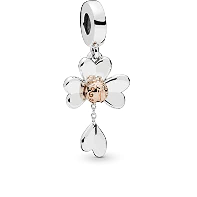 4c10227c52ae7 Amazon.com: PANDORA Clover and Ladybug PANDORA Rose Charm - 787877 ...