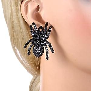 EVER FAITH Halloween Austrian Crystal Tarantula Spider Pierced Stud Earrings