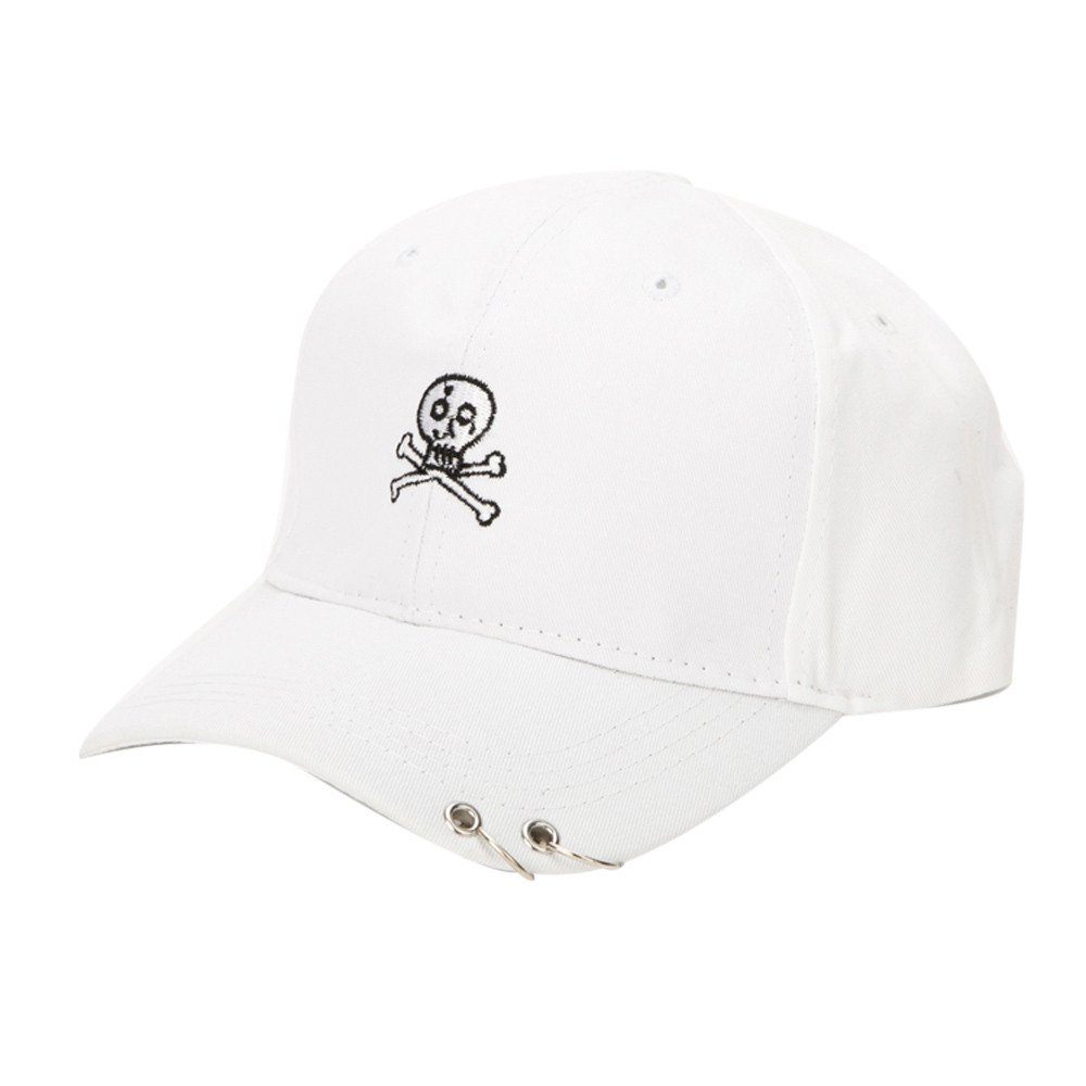 2019 New Womens Gothic Caps Summer Skeleton Embroidered Caps Golf Hat Adjustable Foldable Baseball Cotton Washed Cap (White)