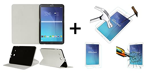 Acm Executive Case  amp; Tempered Glass Combo Compatible with Samsung Galaxy Tab E 9.6 T561 Flip Cover Screen Guard White Bags,Cases   Sleeves