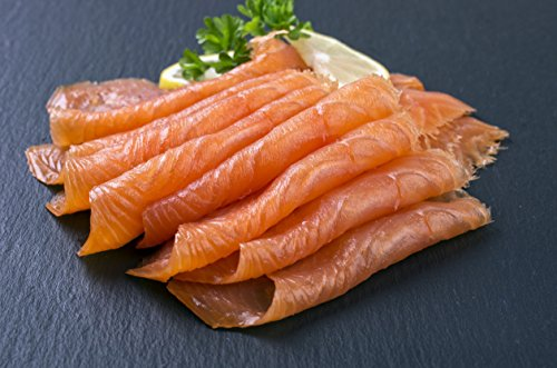 (5 X 4Oz. (1.25 Lb.) Most Awarded, Pre-Sliced, Fully Trimmed, Smoked Salmon Nova, (All Garlic & Pepper))