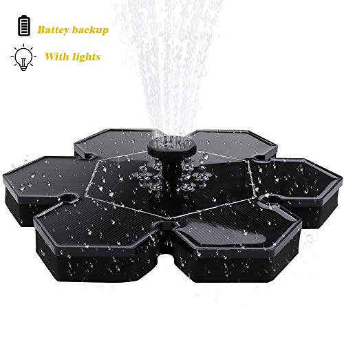Flantor Solar Bird Bath Fountain Pump, 4.8W Solar Power Pump with Lights Outdoor Birdbath Water Pumps Panel Kit Watering Pump for Garden and Patio Watering (with Lights)