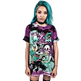 (US) MHOTCIG Fashion Couple Tops Women Summer Casual T Shirt Punk Sleeve Printed T-Shirts,T-010,X-Large