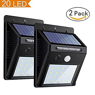 Solar Motion Sensor Light, Super Bright Garden Night Lights, 20 LED Waterproof Wireless Outdoor Powerful Detector LED Security Lights for Yard, Wall, Patio, Deck, Steps (2 Packs)