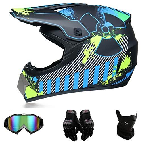GD-SJK Motorradhelm, Motorrad Cross Helm, ATV Scooter ATV Helm, Motorrad Cross Helm, ATV Helm, mit Handschuhbrille,DOT…