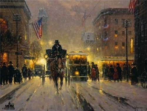 G. Harvey - City Crowds Canvas, used for sale  Delivered anywhere in USA