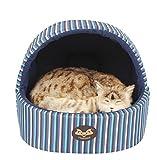Warm winter yurt small dog kennel cat litter cat house pet dog kennel (Deep Blue Plaid)