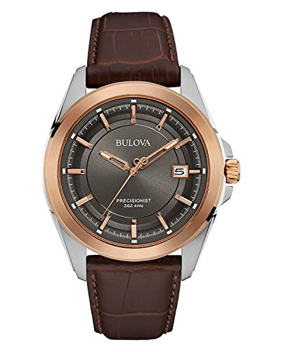 Bulova Men's 98B267 Stainless Steel Brown Leather Band Dress Watch