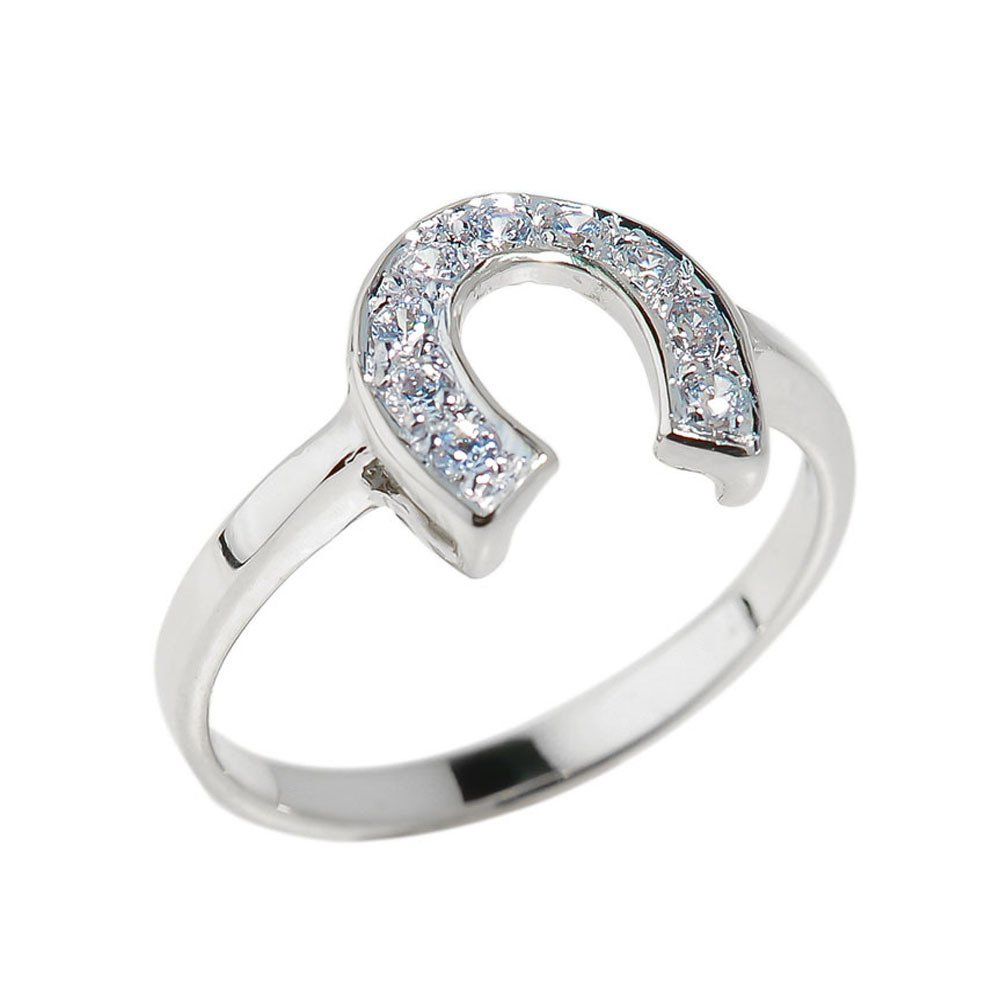 Fine 14k White Gold Lucky Diamond Horseshoe Ring (Size 6)