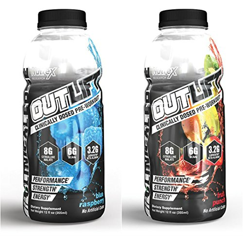 Nutrex Research Outlift Pre Workout Ready to Drink Energy Drink (2 Flavor Combo)