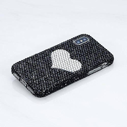 Iphone Xs Max Case Bling Genuine Jet Black Crystals Stones With Love Heart Diamond Sparkle Protective Easy Grip Case Cover By Luxaddiction