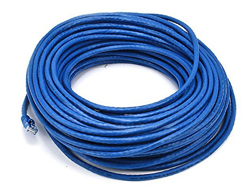 Monoprice Cat5e Ethernet Patch Cable - Network Internet Cord - RJ45, Stranded, 350Mhz, UTP, Pure Bare Copper Wire, 24AWG, 100ft, Blue