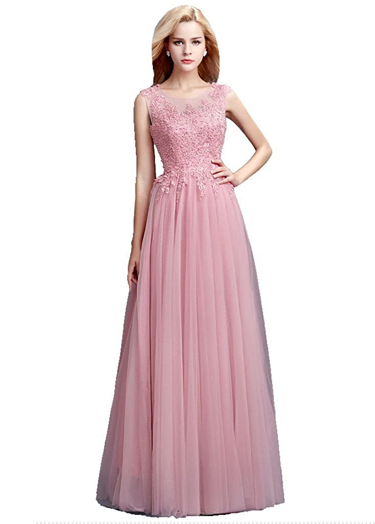 Beauty-Emily Evening Dresses For Women Long Tulle Backless Floor Length A line: Amazon.co.uk: Clothing