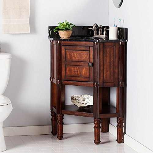 Beckingham Corner Bath Vanity in Oak Saddle Finish